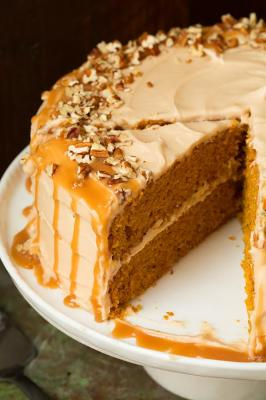 Brown Butter Pumpkin Cake with Salted Caramel Frosting
